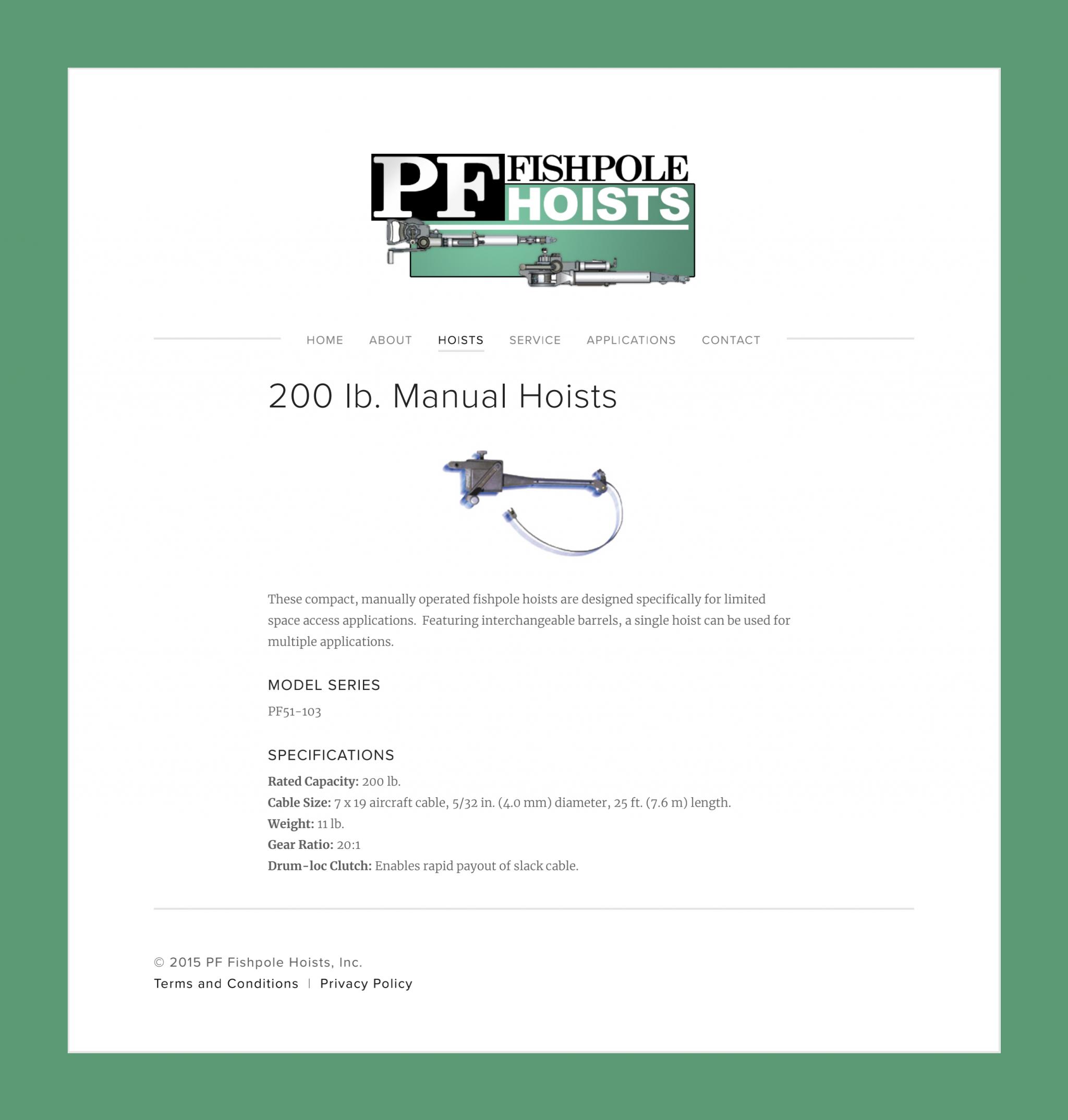 200 lb. Manual Hoists — PF Fishpole Hoists, Inc._00