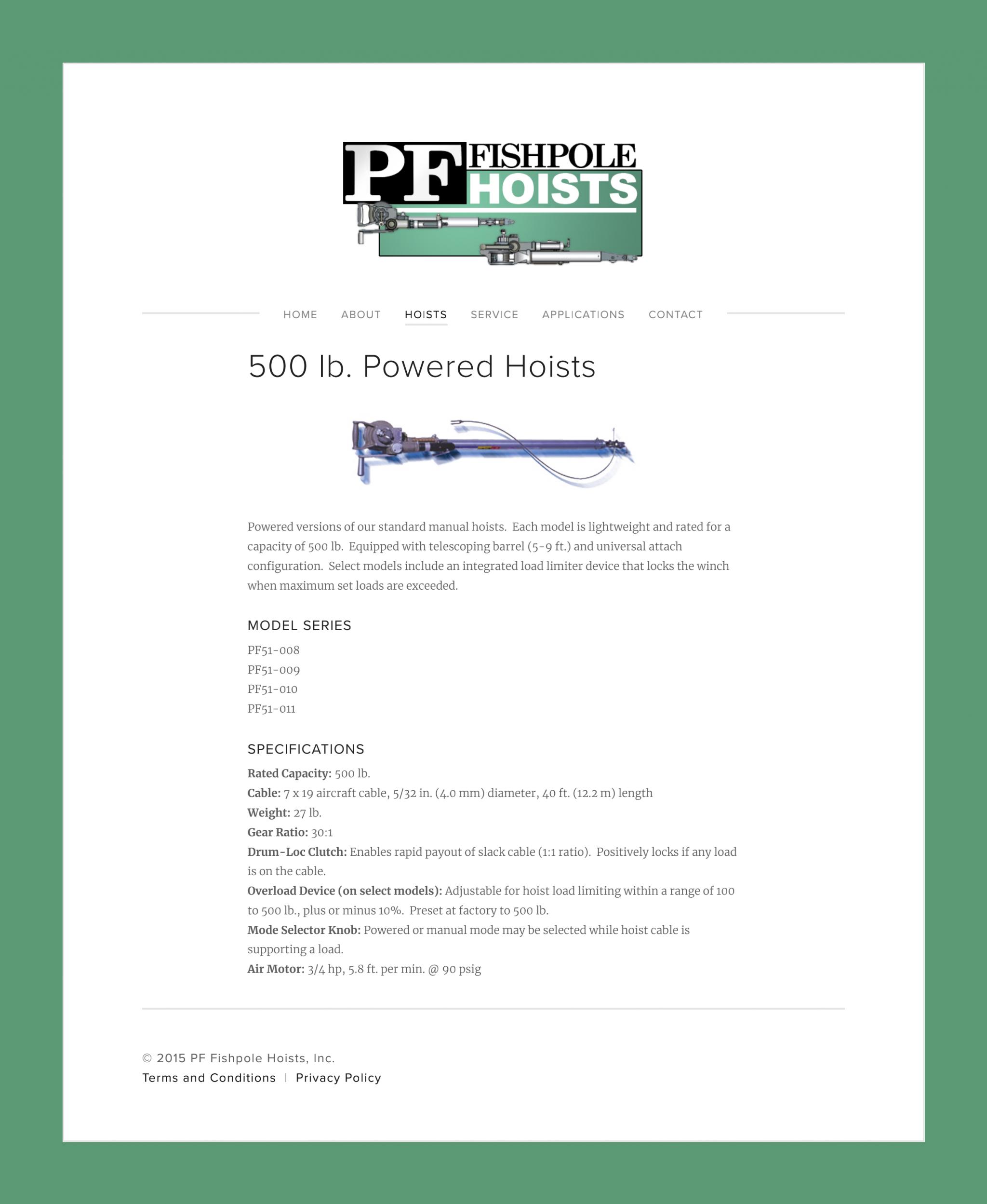 500 lb. Powered Hoists — PF Fishpole Hoists, Inc._00