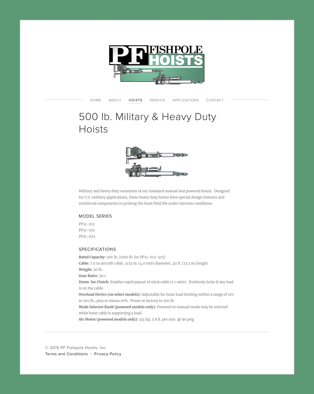 500 lb. Military & Heavy Duty Hoists — PF Fishpole Hoists, Inc._00