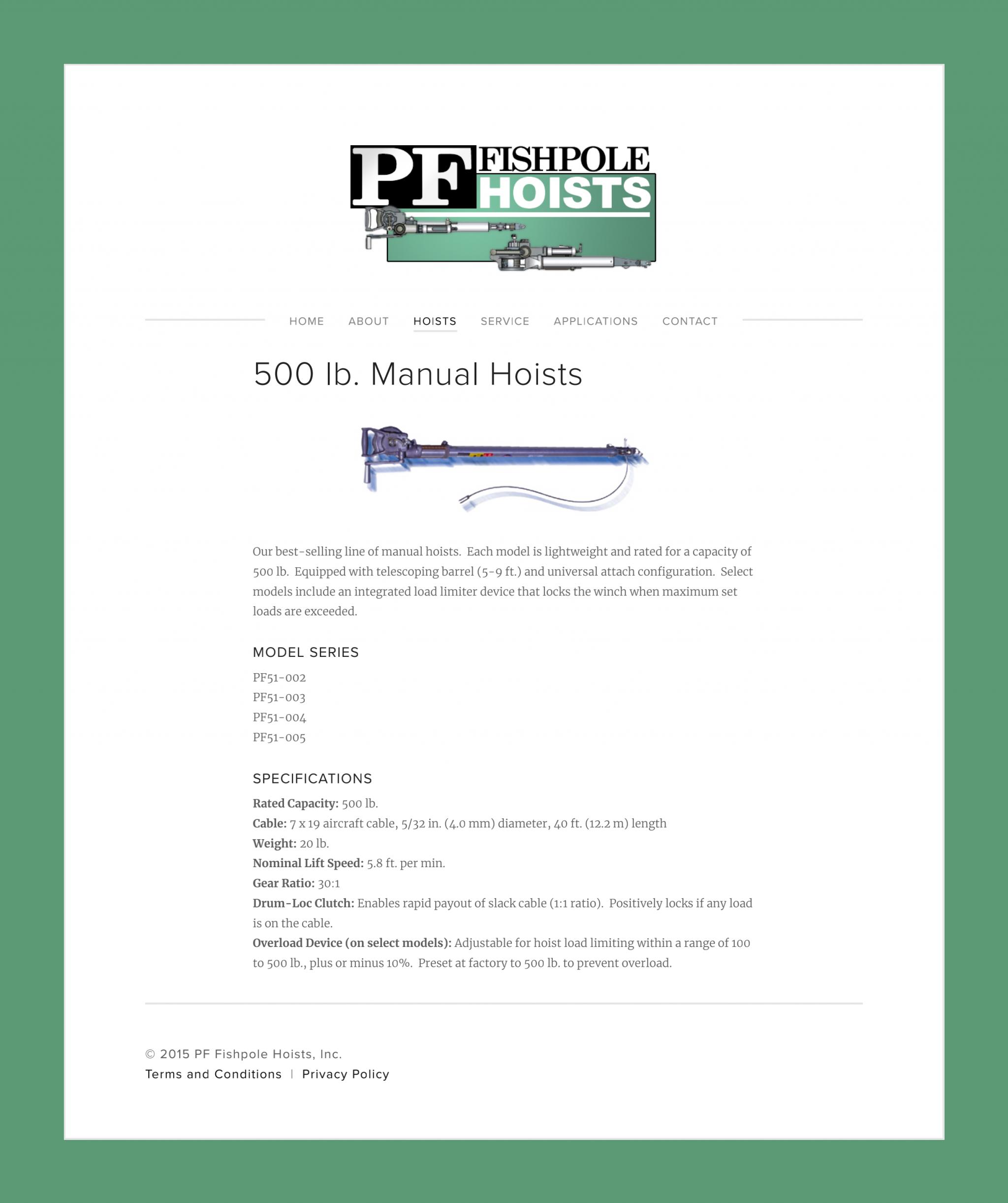 500 lb. Manual Hoists — PF Fishpole Hoists, Inc._00