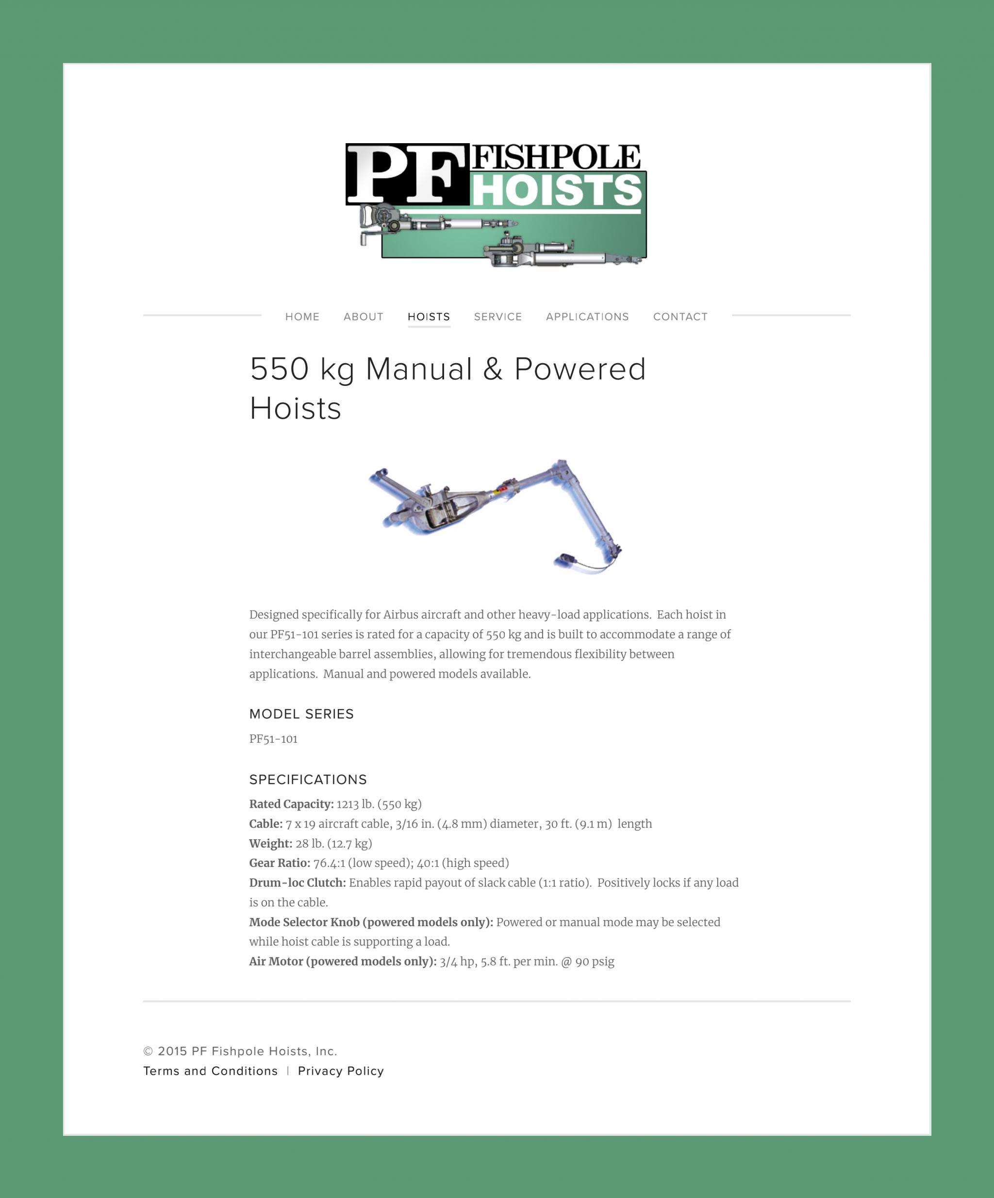 550 kg Manual & Powered Hoists — PF Fishpole Hoists, Inc._00